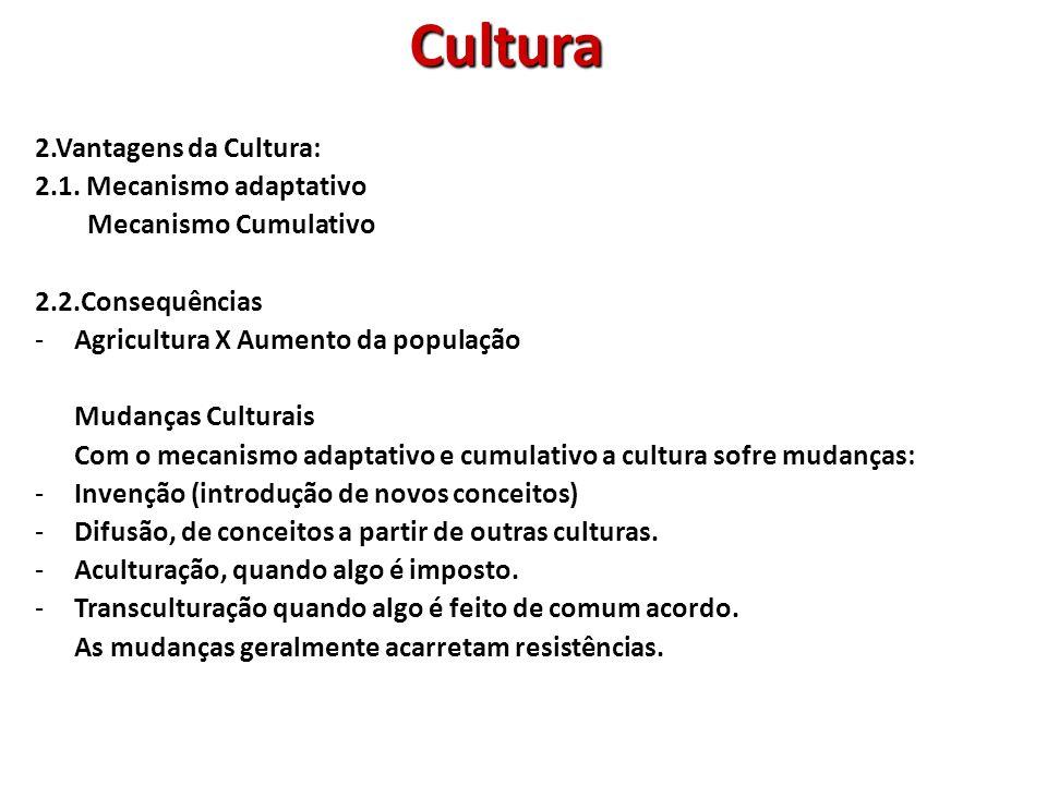 Cultura 2.Vantagens da Cultura: 2.1. Mecanismo adaptativo