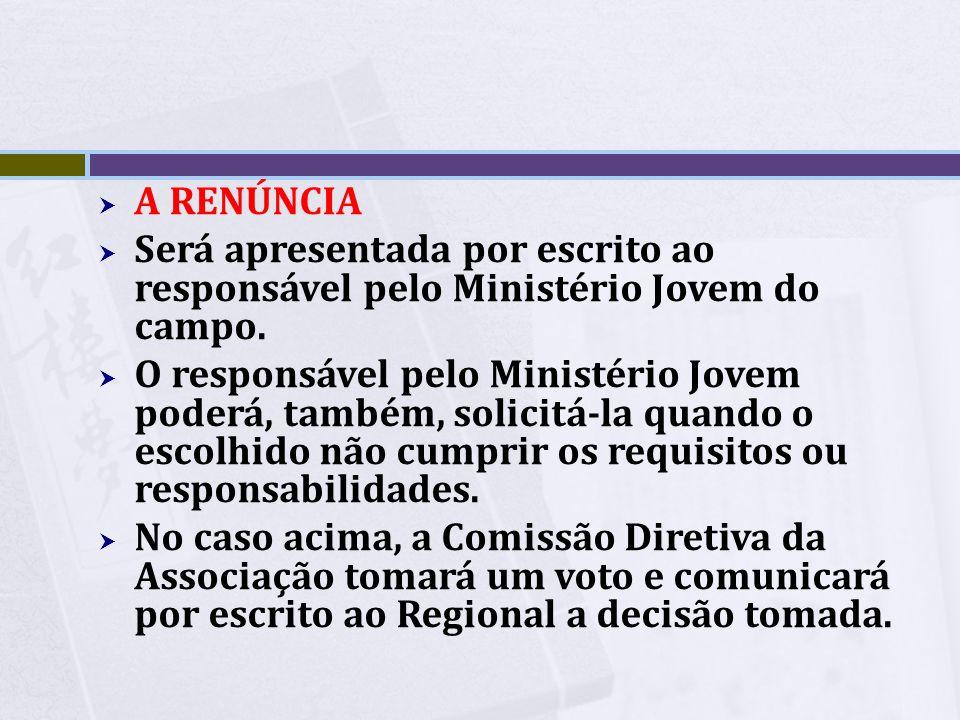 A Renúncia Será apresentada por escrito ao responsável pelo Ministério Jovem do campo.