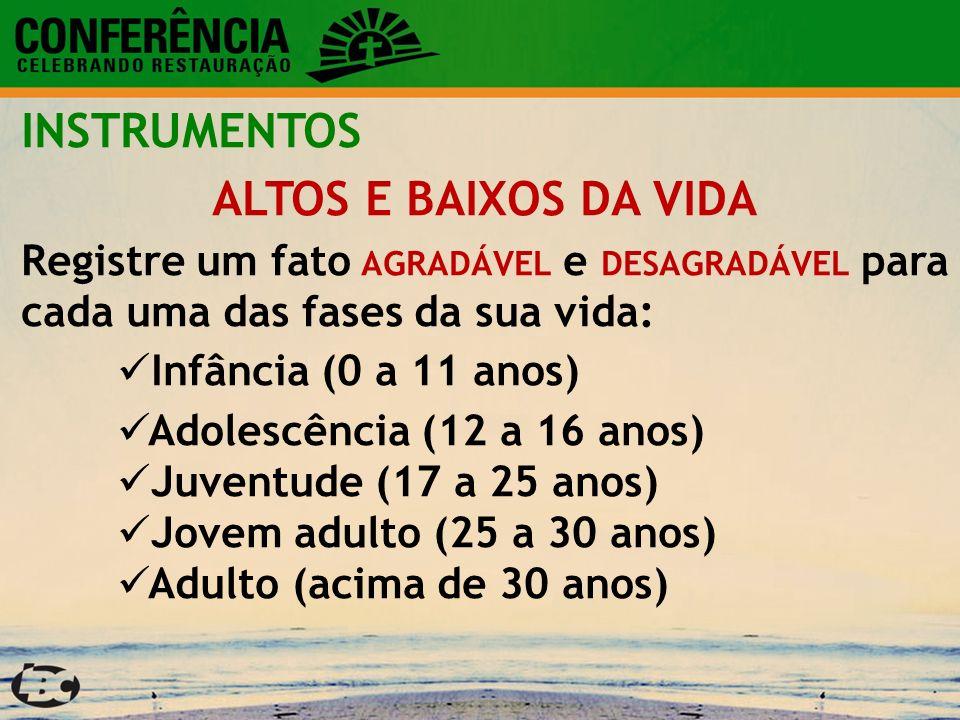 INSTRUMENTOS ALTOS E BAIXOS DA VIDA