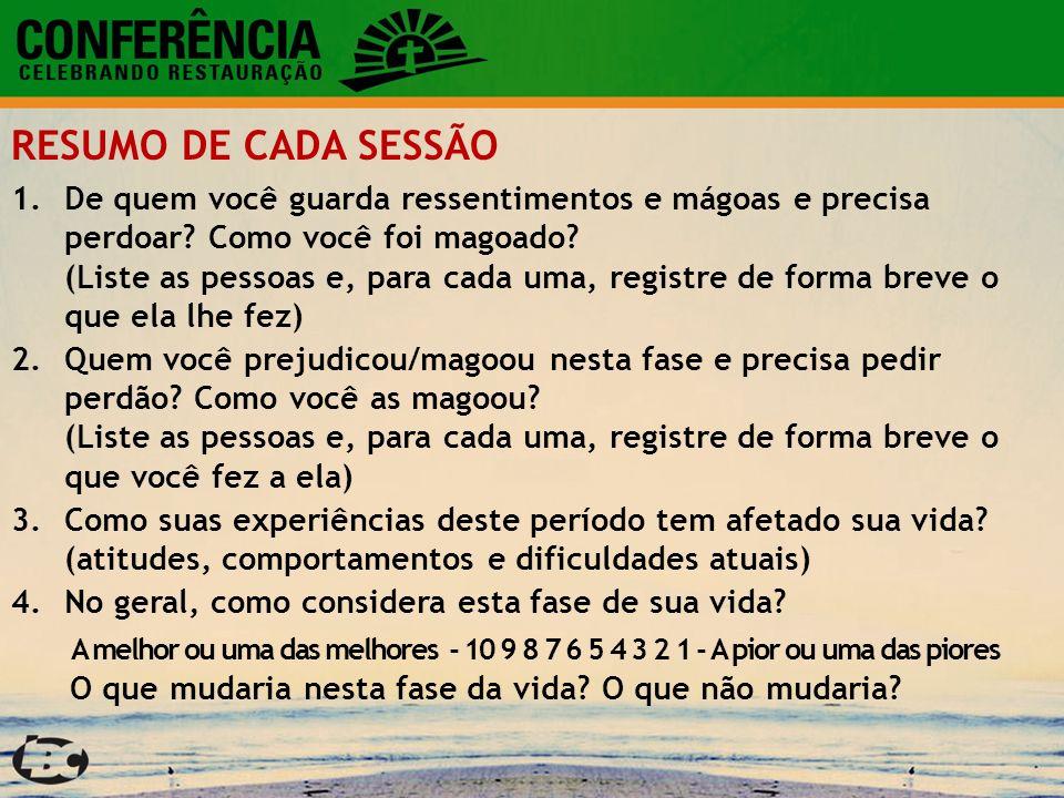 RESUMO DE CADA SESSÃO