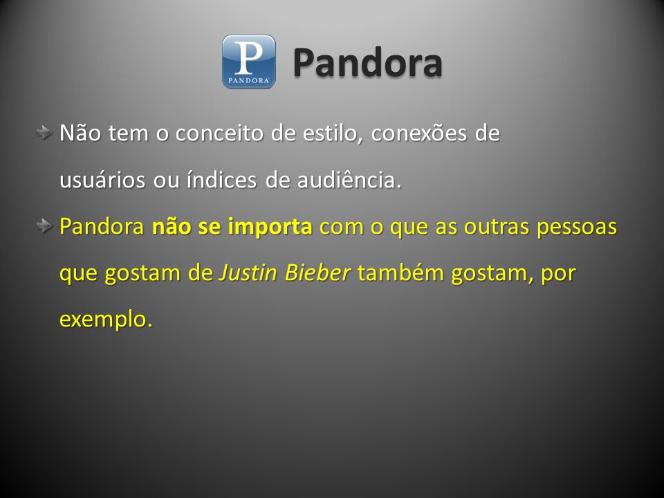 Pandora Não tem o conceito de estilo, conexões de