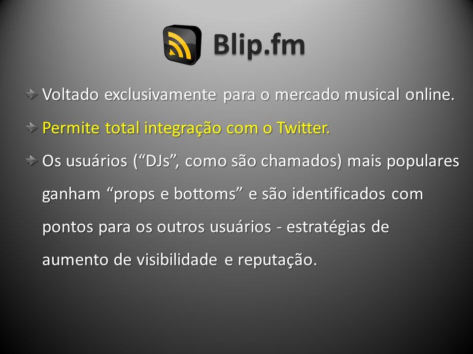 Blip.fm Voltado exclusivamente para o mercado musical online.