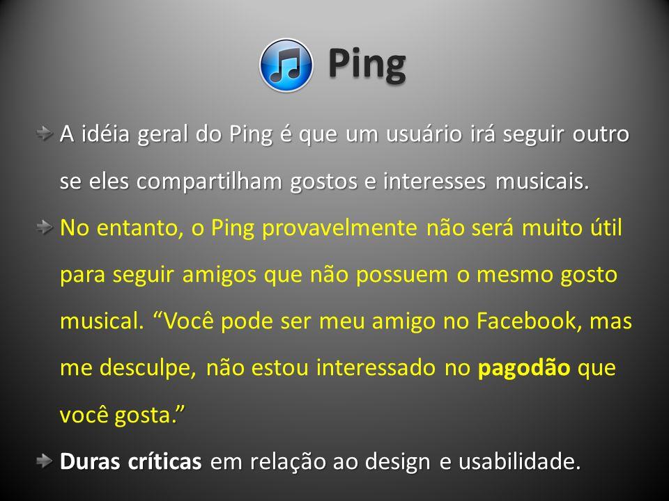 Ping A idéia geral do Ping é que um usuário irá seguir outro