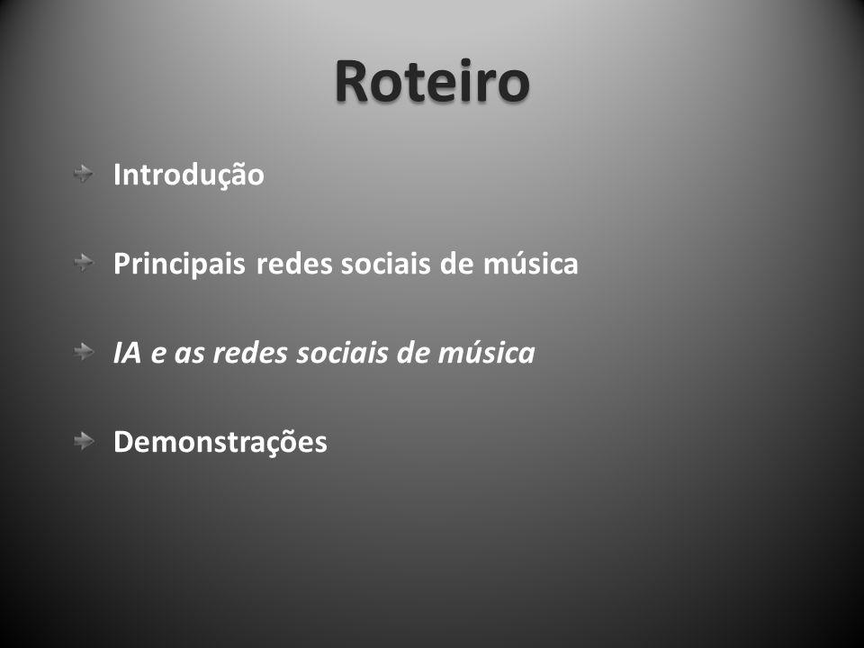 Roteiro Introdução Principais redes sociais de música
