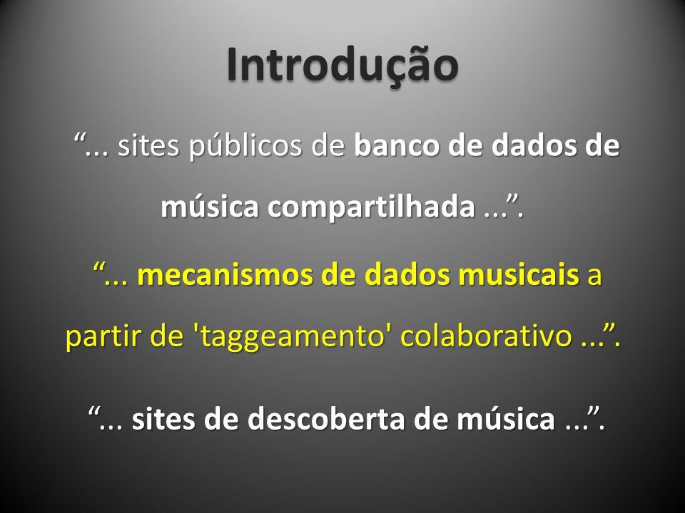 Introdução ... sites públicos de banco de dados de música compartilhada ... .