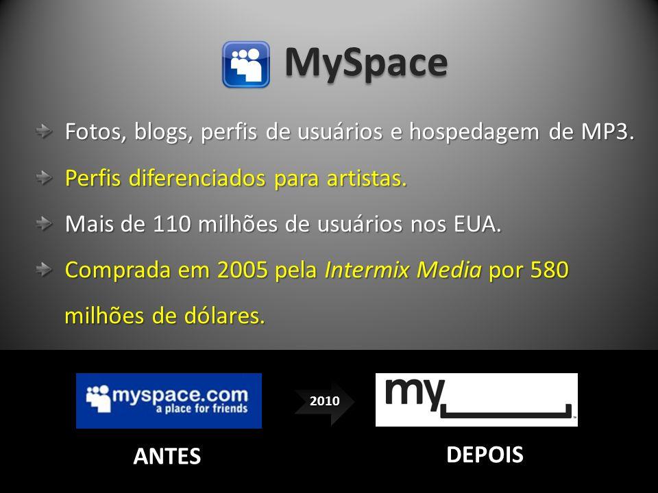 MySpace Fotos, blogs, perfis de usuários e hospedagem de MP3.