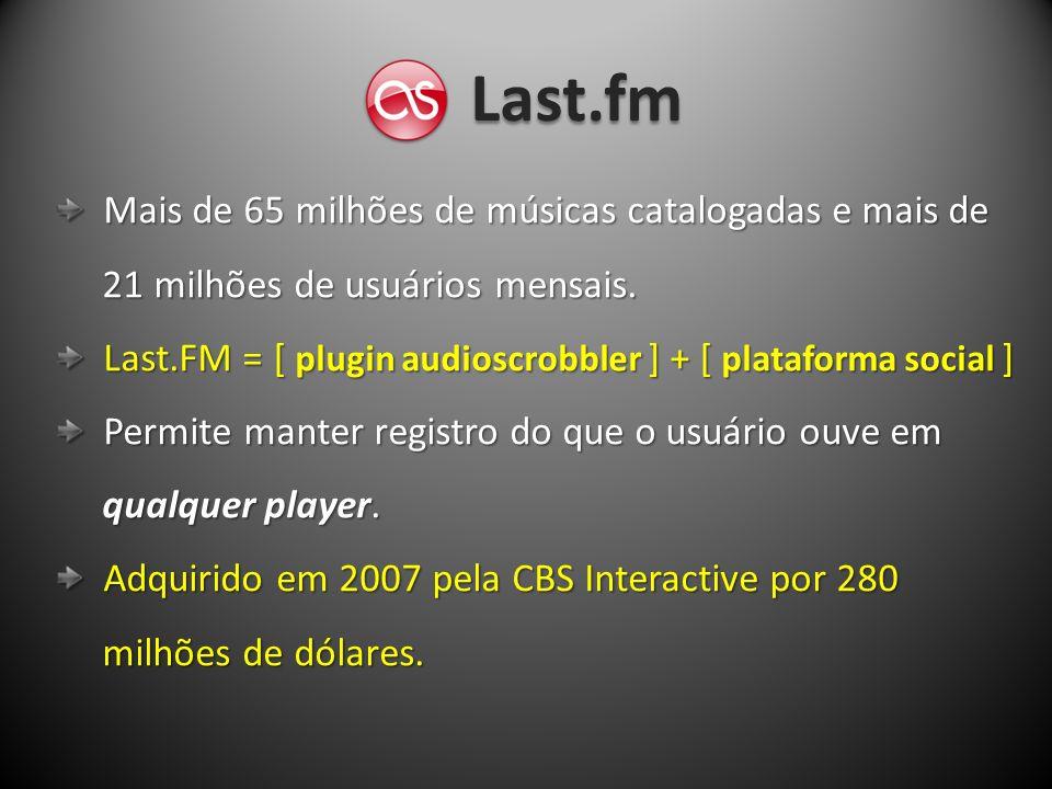 Last.fm Mais de 65 milhões de músicas catalogadas e mais de