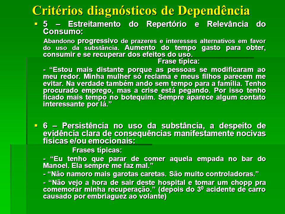 Critérios diagnósticos de Dependência