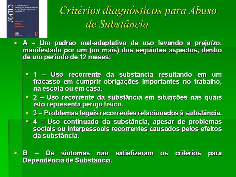 Critérios diagnósticos para Abuso de Substância