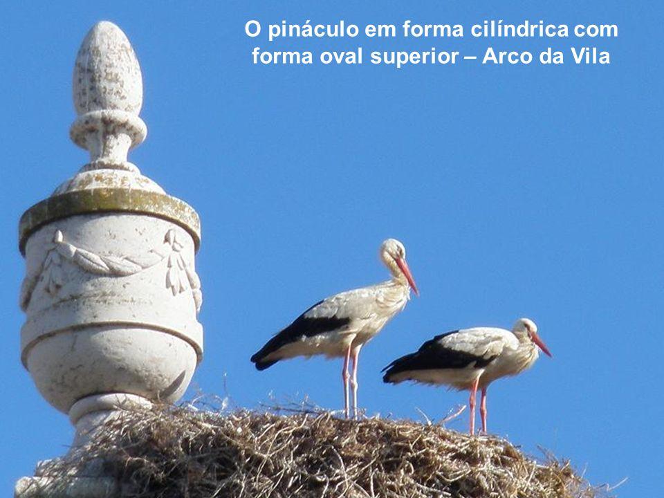 O pináculo em forma cilíndrica com forma oval superior – Arco da Vila