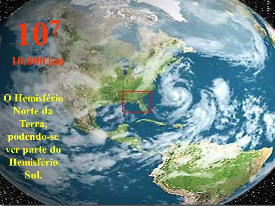 O Hemisfério Norte da Terra, podendo-se ver parte do Hemisfério Sul.