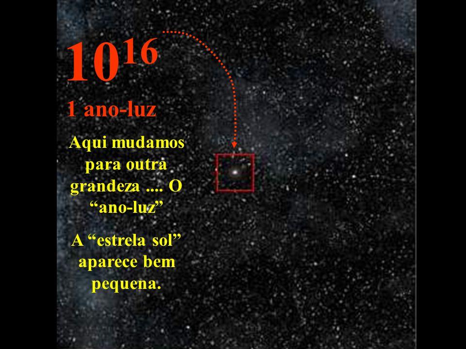 1016 1 ano-luz Aqui mudamos para outra grandeza .... O ano-luz