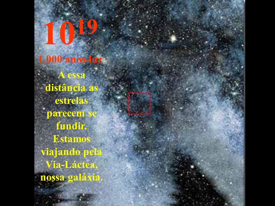 1019 1.000 anos-luz. A essa distância as estrelas parecem se fundir.