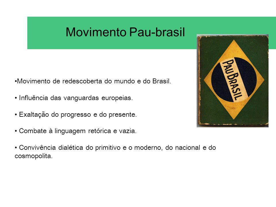 Movimento Pau-brasil •Movimento de redescoberta do mundo e do Brasil.