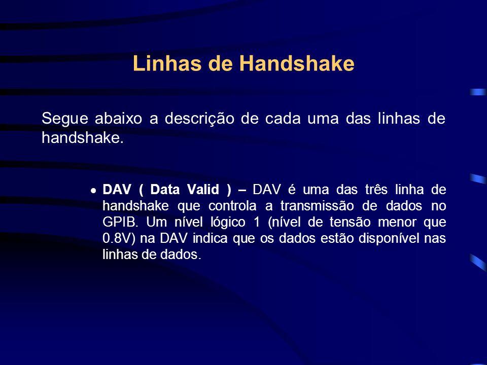 Linhas de Handshake Segue abaixo a descrição de cada uma das linhas de handshake.