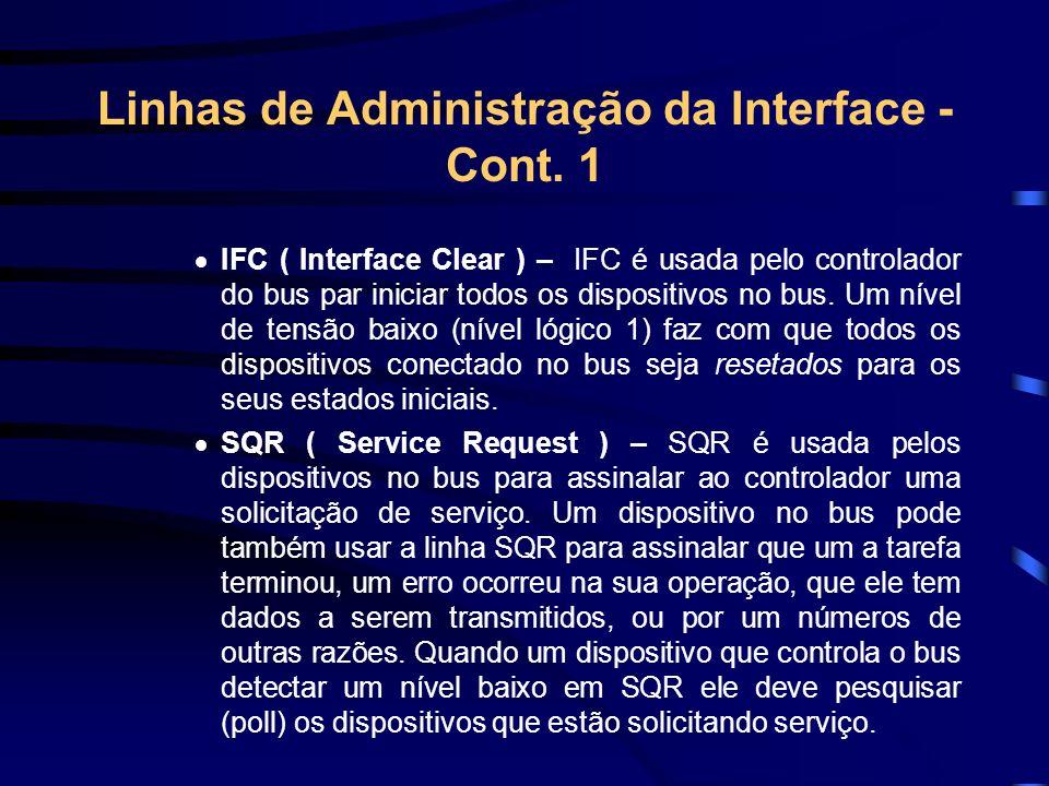 Linhas de Administração da Interface - Cont. 1