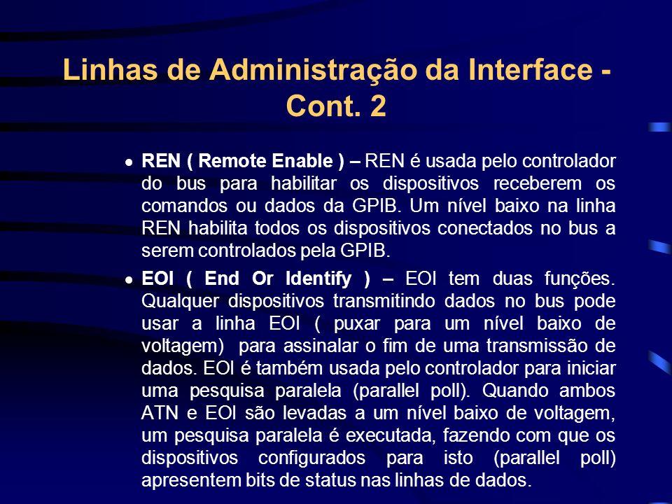Linhas de Administração da Interface - Cont. 2