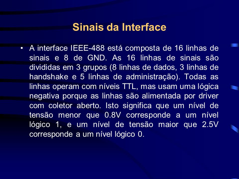 Sinais da Interface