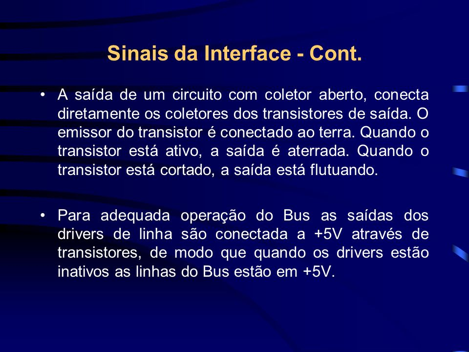 Sinais da Interface - Cont.