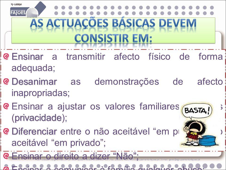 As actuações básicas devem consistir em: