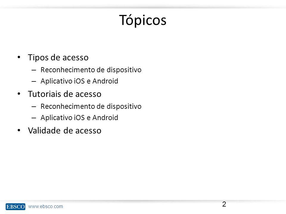 Tópicos Tipos de acesso Tutoriais de acesso Validade de acesso