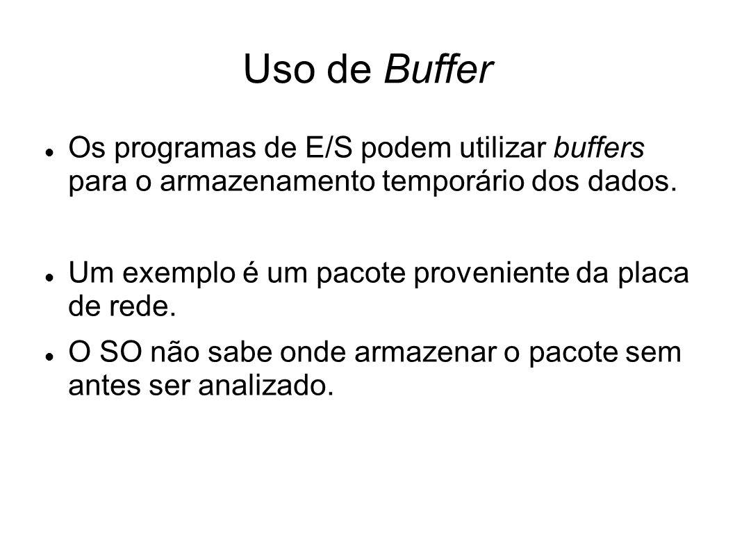 Uso de Buffer Os programas de E/S podem utilizar buffers para o armazenamento temporário dos dados.