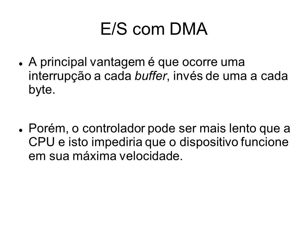 E/S com DMA A principal vantagem é que ocorre uma interrupção a cada buffer, invés de uma a cada byte.