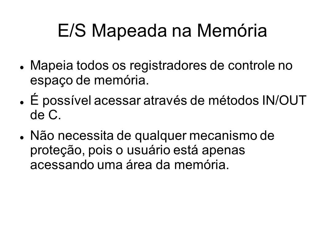 E/S Mapeada na Memória Mapeia todos os registradores de controle no espaço de memória. É possível acessar através de métodos IN/OUT de C.