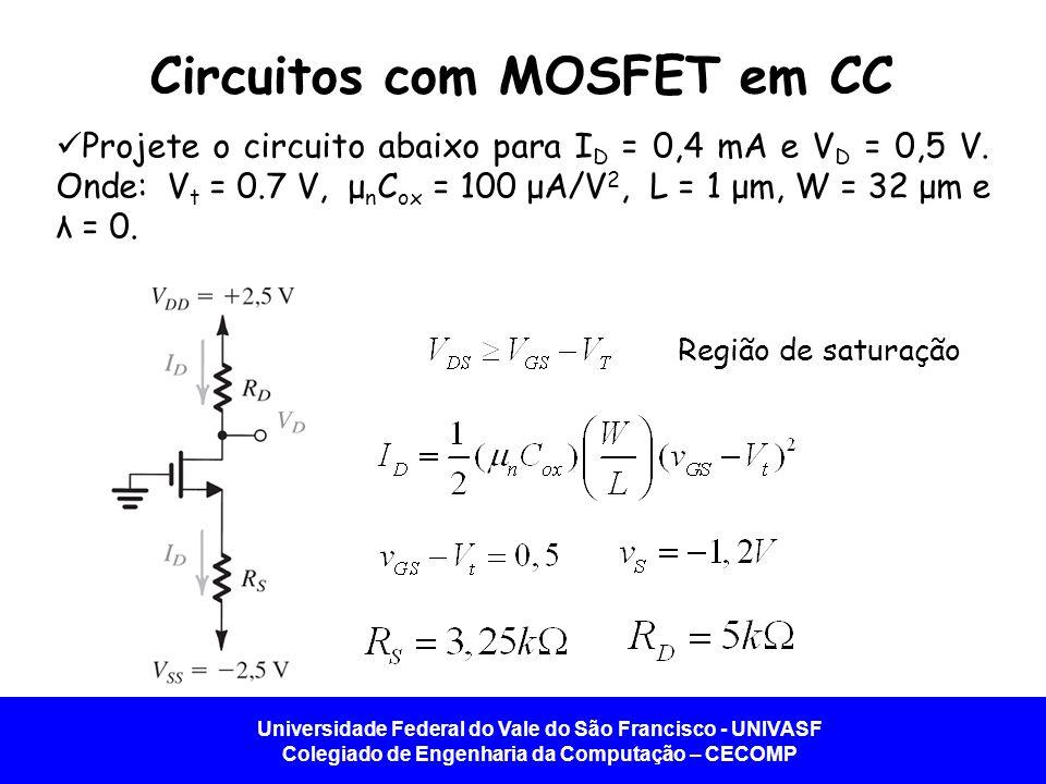 Circuitos com MOSFET em CC