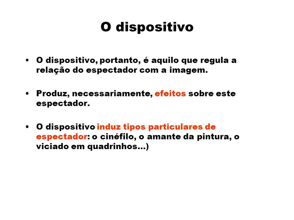 O dispositivo O dispositivo, portanto, é aquilo que regula a relação do espectador com a imagem.