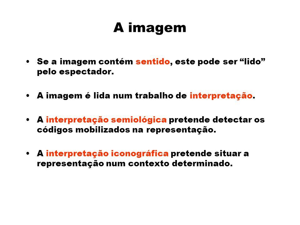 A imagem Se a imagem contém sentido, este pode ser lido pelo espectador. A imagem é lida num trabalho de interpretação.