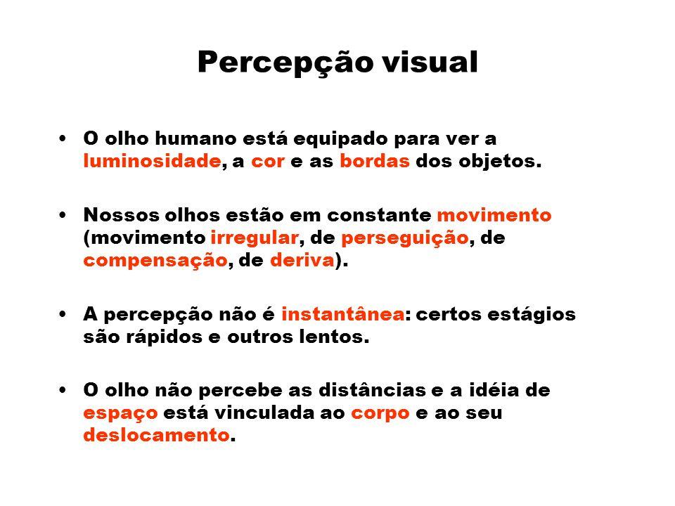 Percepção visual O olho humano está equipado para ver a luminosidade, a cor e as bordas dos objetos.