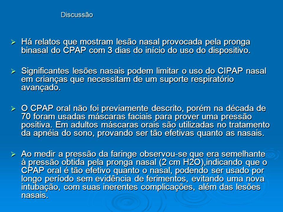 Discussão Há relatos que mostram lesão nasal provocada pela pronga binasal do CPAP com 3 dias do início do uso do dispositivo.
