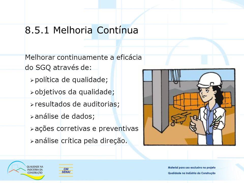 8.5.1 Melhoria Contínua Melhorar continuamente a eficácia do SGQ através de: política de qualidade;