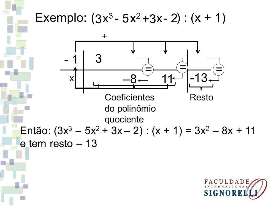 Exemplo: ( ) : (x + 1) 3 x3 x2 x - 5 +3 - 2 - 1 3 = = = -13 –8 11