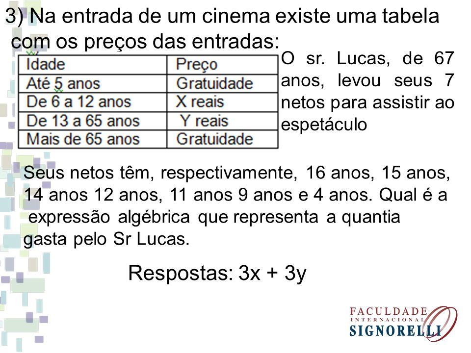 3) Na entrada de um cinema existe uma tabela