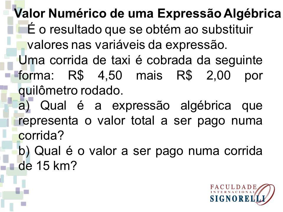 Valor Numérico de uma Expressão Algébrica