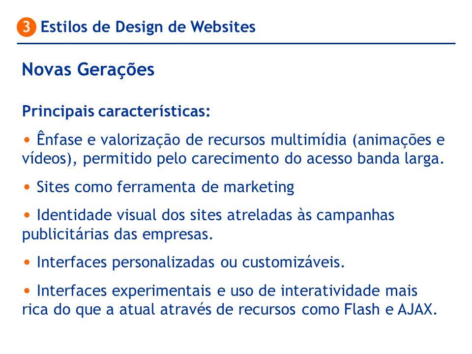 Novas Gerações 3 Estilos de Design de Websites