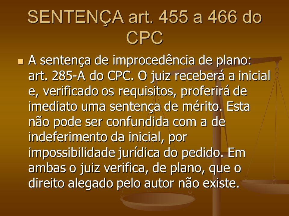 SENTENÇA art. 455 a 466 do CPC