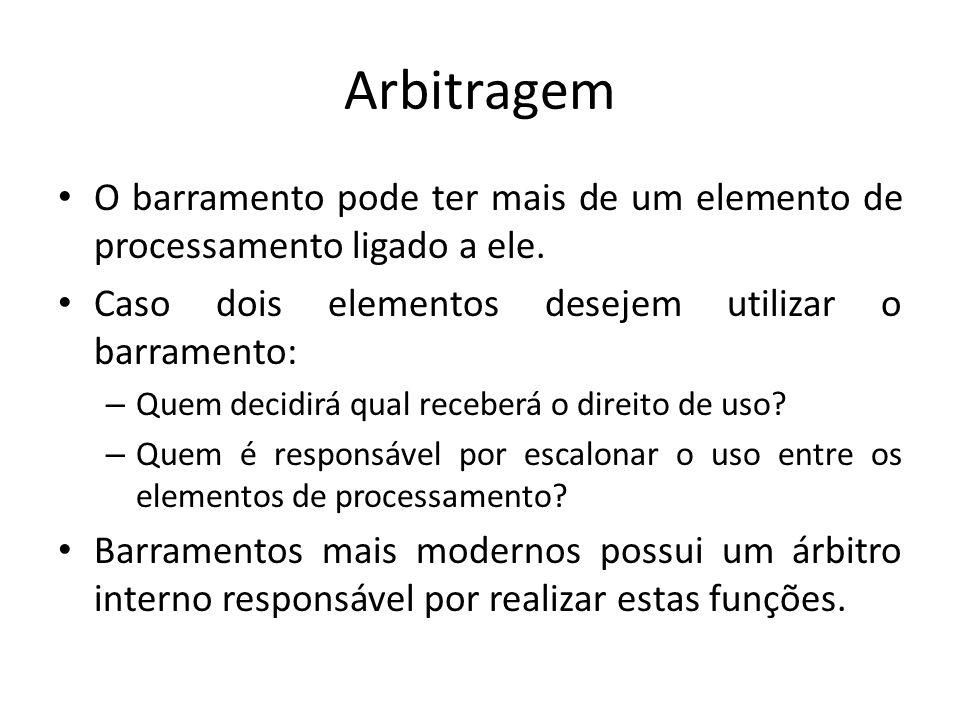 Arbitragem O barramento pode ter mais de um elemento de processamento ligado a ele. Caso dois elementos desejem utilizar o barramento: