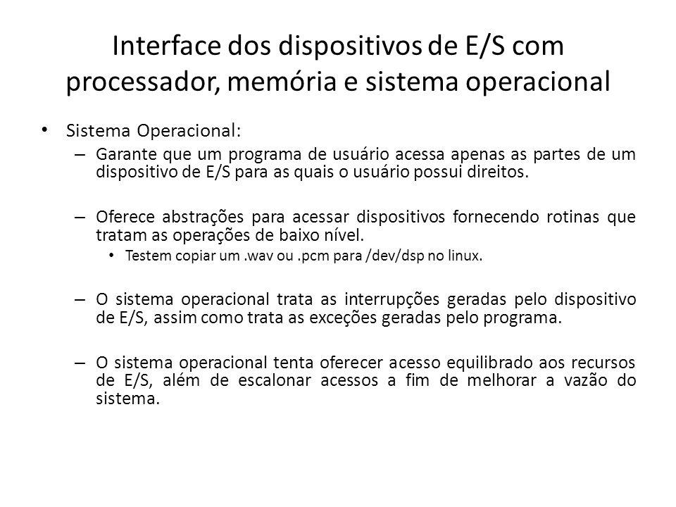 Interface dos dispositivos de E/S com processador, memória e sistema operacional