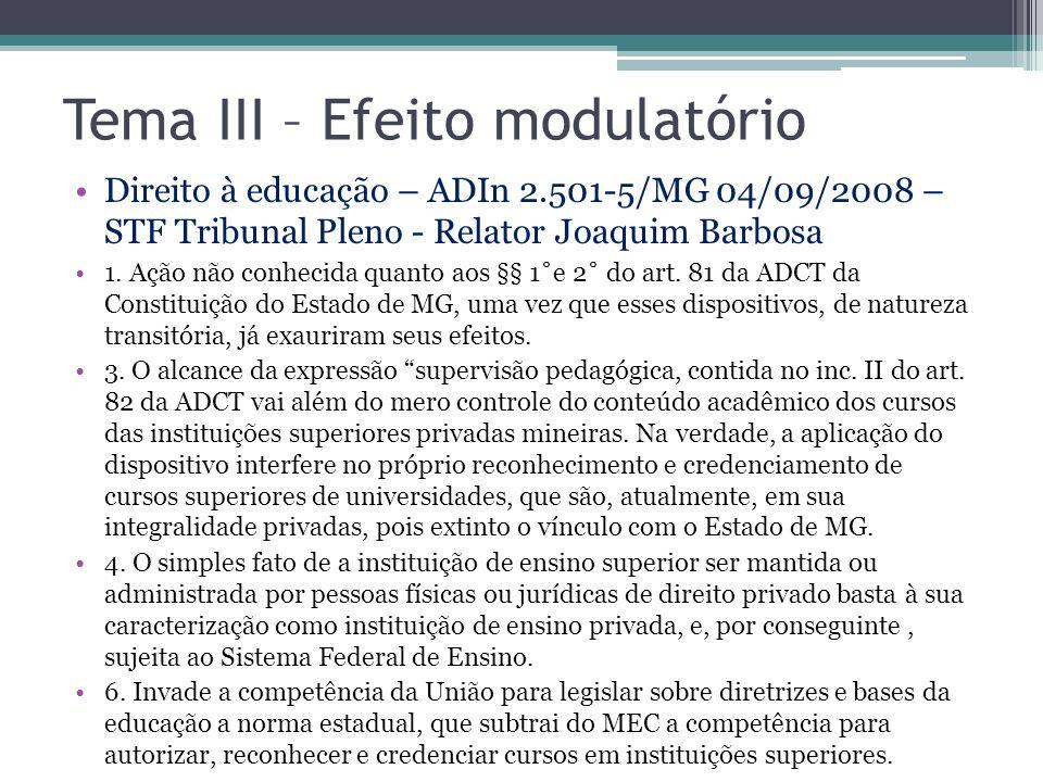 Tema III – Efeito modulatório