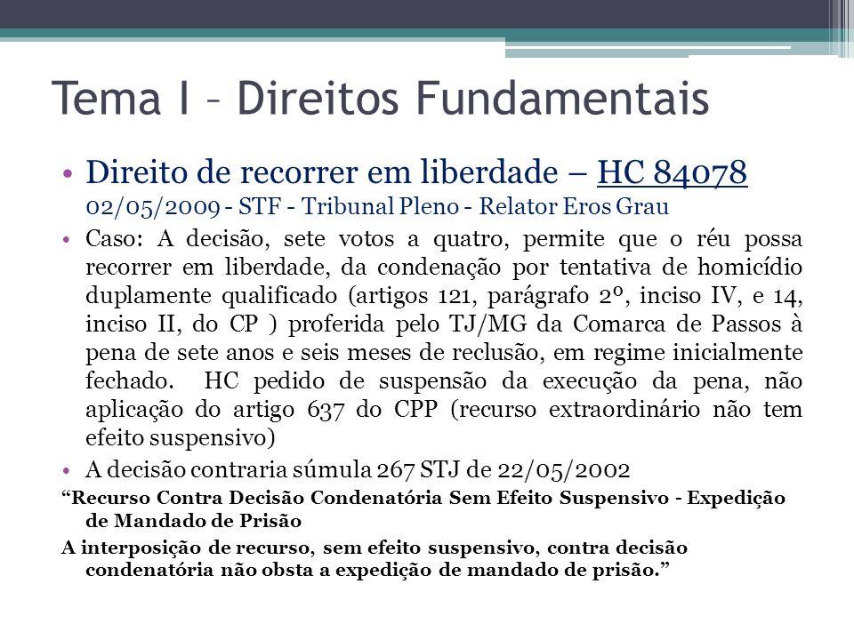 Tema I – Direitos Fundamentais
