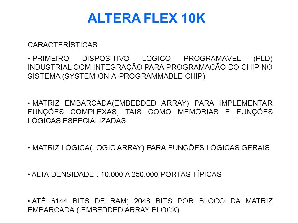 ALTERA FLEX 10K CARACTERÍSTICAS