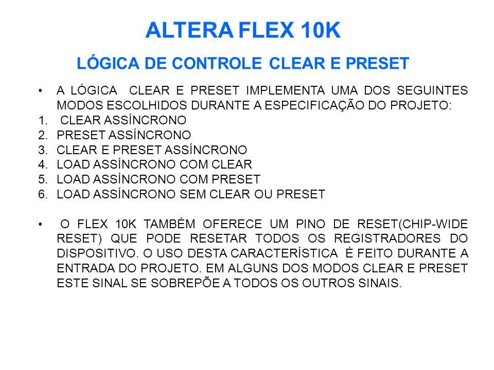 LÓGICA DE CONTROLE CLEAR E PRESET