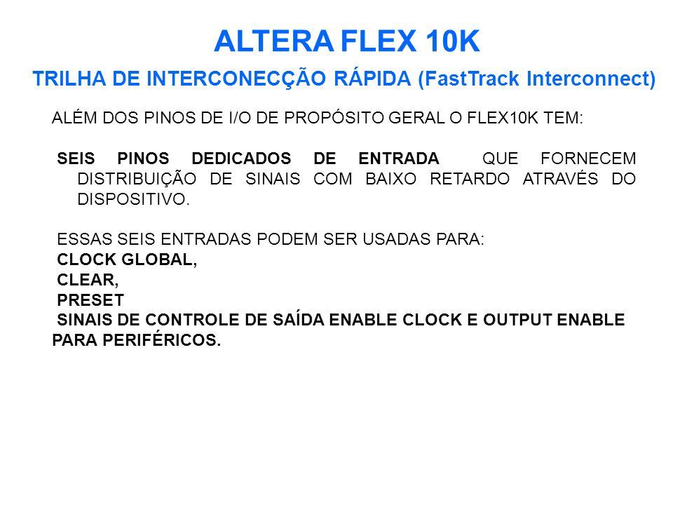 ALTERA FLEX 10K TRILHA DE INTERCONECÇÃO RÁPIDA (FastTrack Interconnect) ALÉM DOS PINOS DE I/O DE PROPÓSITO GERAL O FLEX10K TEM:
