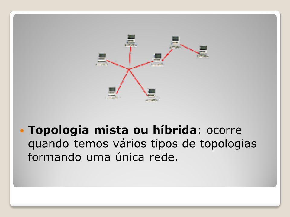 Topologia mista ou híbrida: ocorre quando temos vários tipos de topologias formando uma única rede.