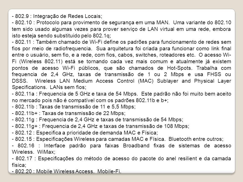 - 802.9 : Integração de Redes Locais;