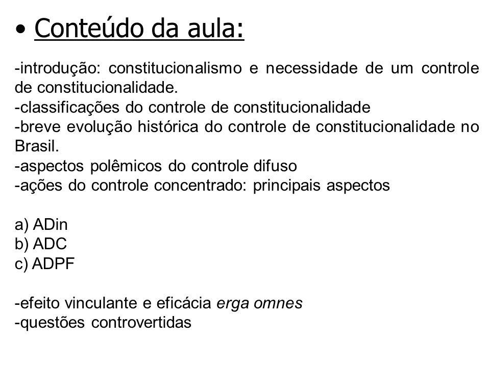 Conteúdo da aula: introdução: constitucionalismo e necessidade de um controle de constitucionalidade.