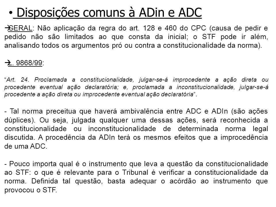 Disposições comuns à ADin e ADC